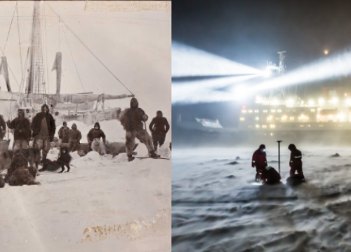Left, members of the Fram expedition in front of their ship, the Fram. Right, MOSAiC scientists drill an ice core, the Polarstern is visible in the background.