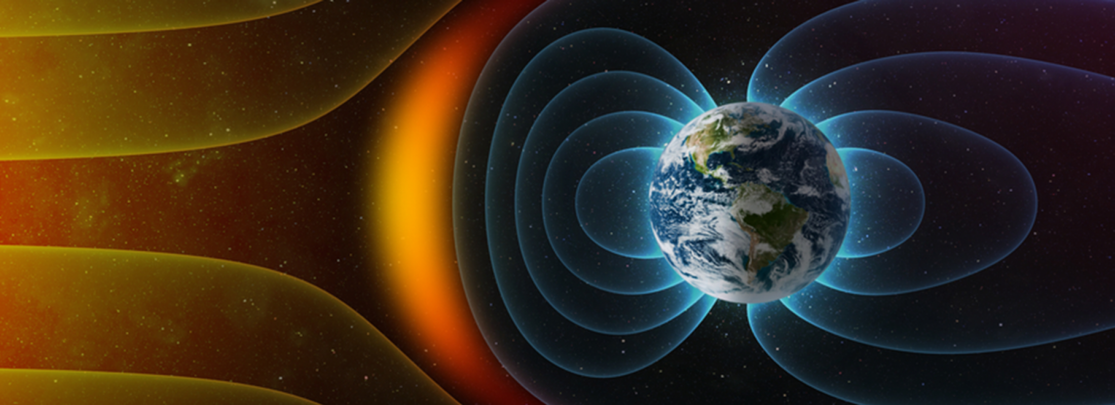 Image of earth and magnetic field