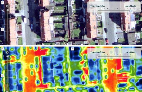 A satellite image is shown over the same image in infrared, showing that the paved sidewalks and roads retain more heat than homes and vegetation.
