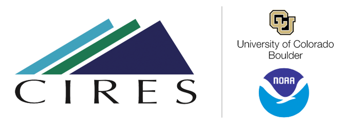 CIRES welcome logo with NOAA and CU Boulders logo in sidecar