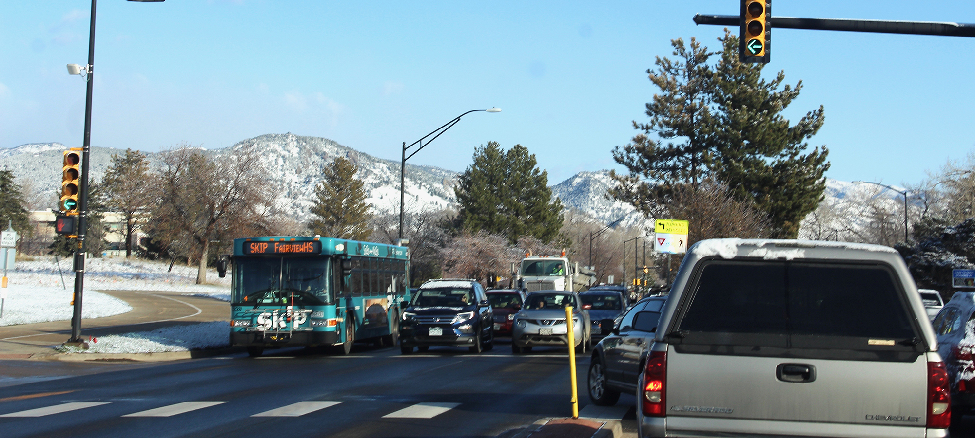 traffic on Broadway during rush hour in Boulder, Colorado