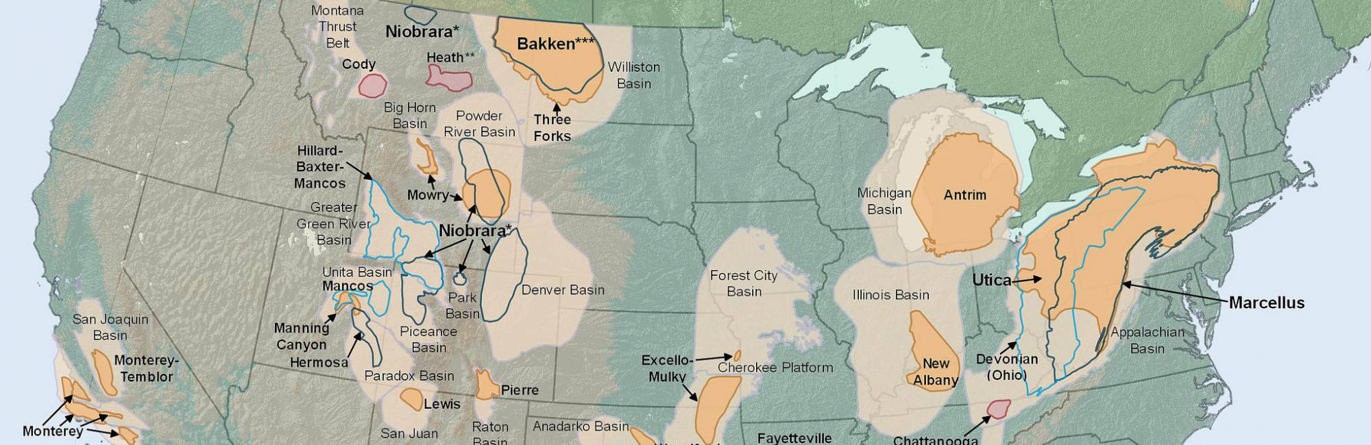 Shale natural gas fields in the lower 48 states
