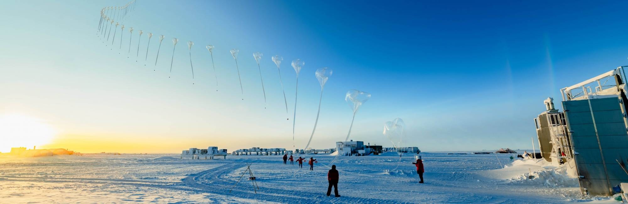 Timelapse photo of a NOAA ozonezonde, an instrument used to monitor the Antarctic ozone hole, is released by scientists and carried aloft over the South Pole on a weather balloon.