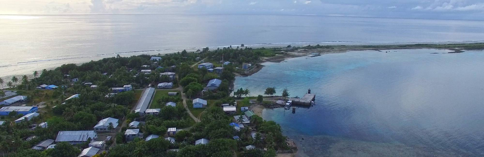 Aerial photo of the town of Jabor on Jaluit Atoll (169.5E, 6N), Republic of the Marshall Islands taken by a drone during our recent fieldwork in the western tropical Pacific.