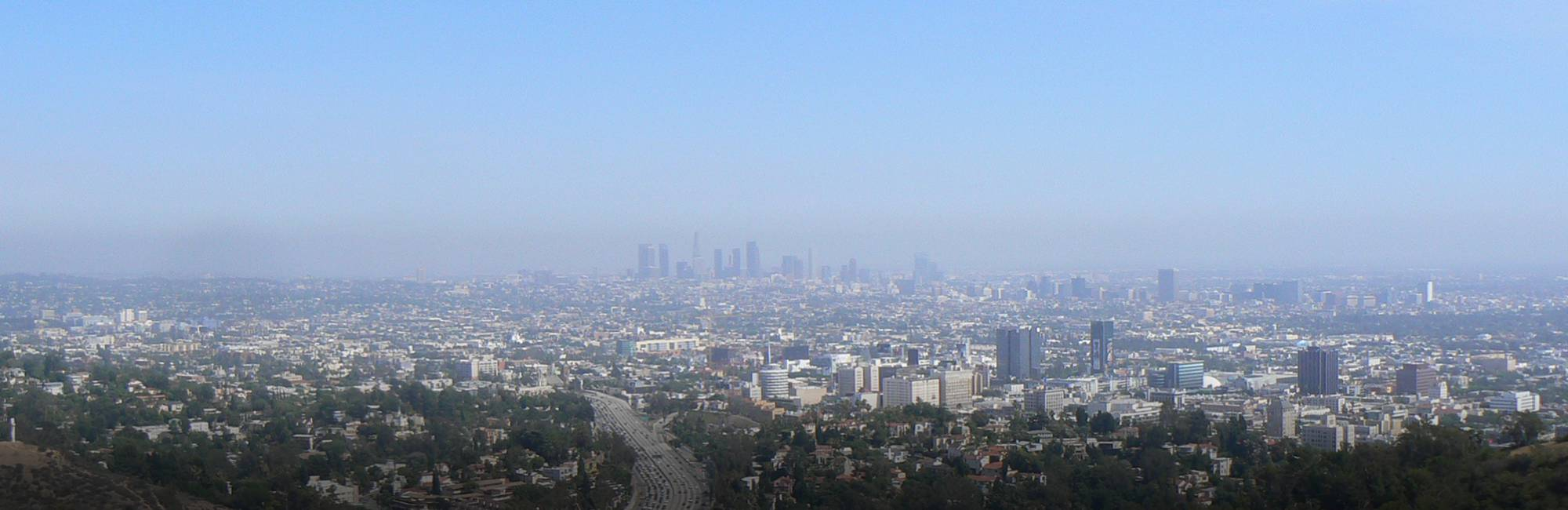 Los Angeles skyline with smog