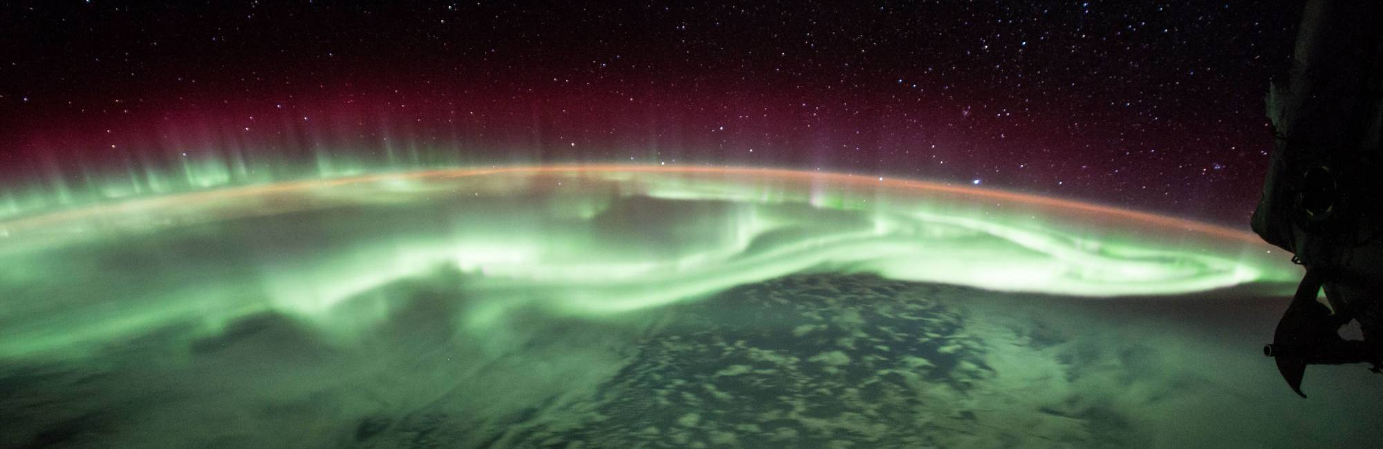 Photo of an aurora captured by the International Space Station.