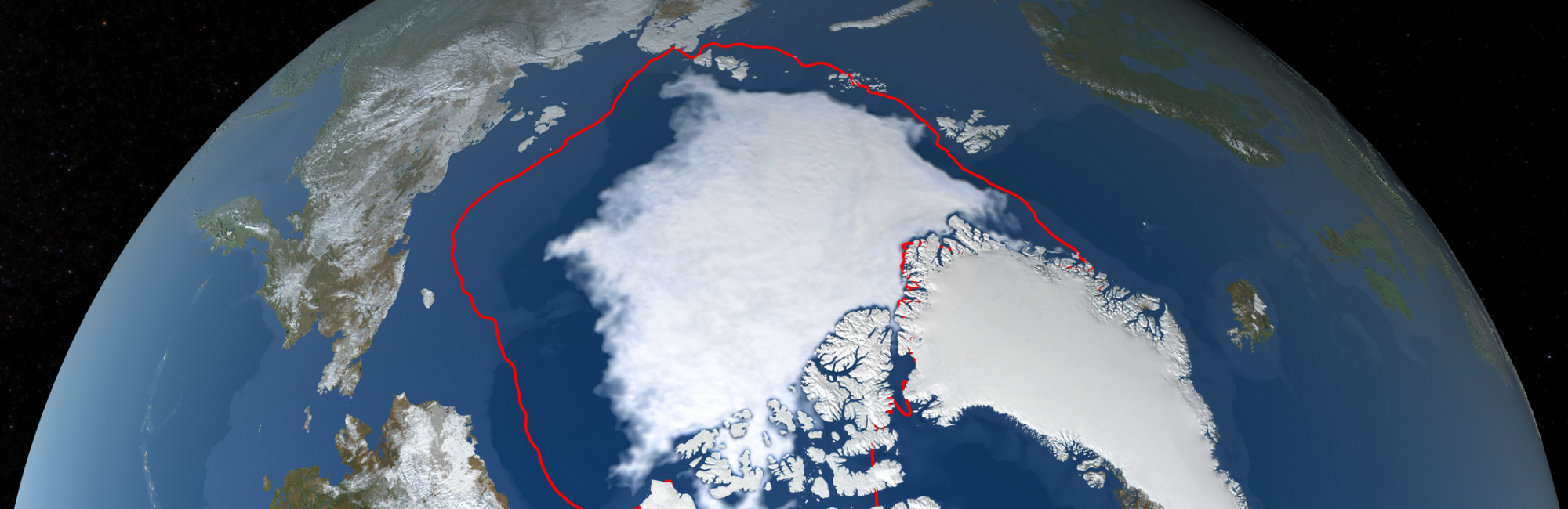 Northern pole showing lesser sea ice extent than previous years.