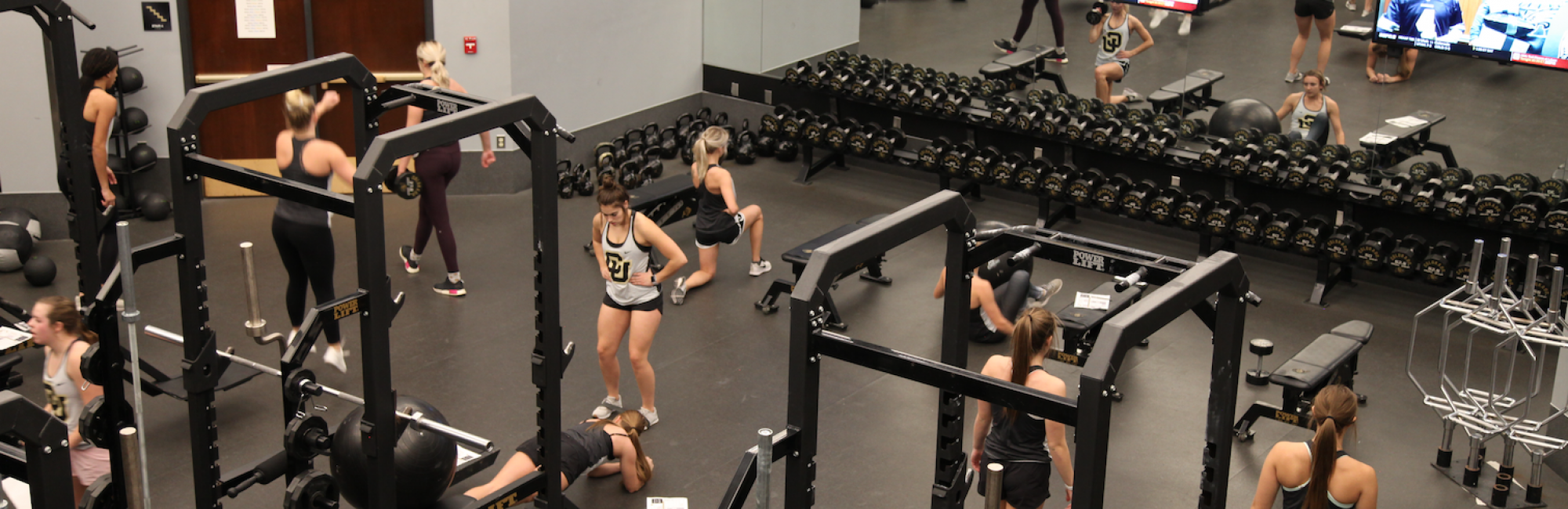 Female athletes work out in a gym
