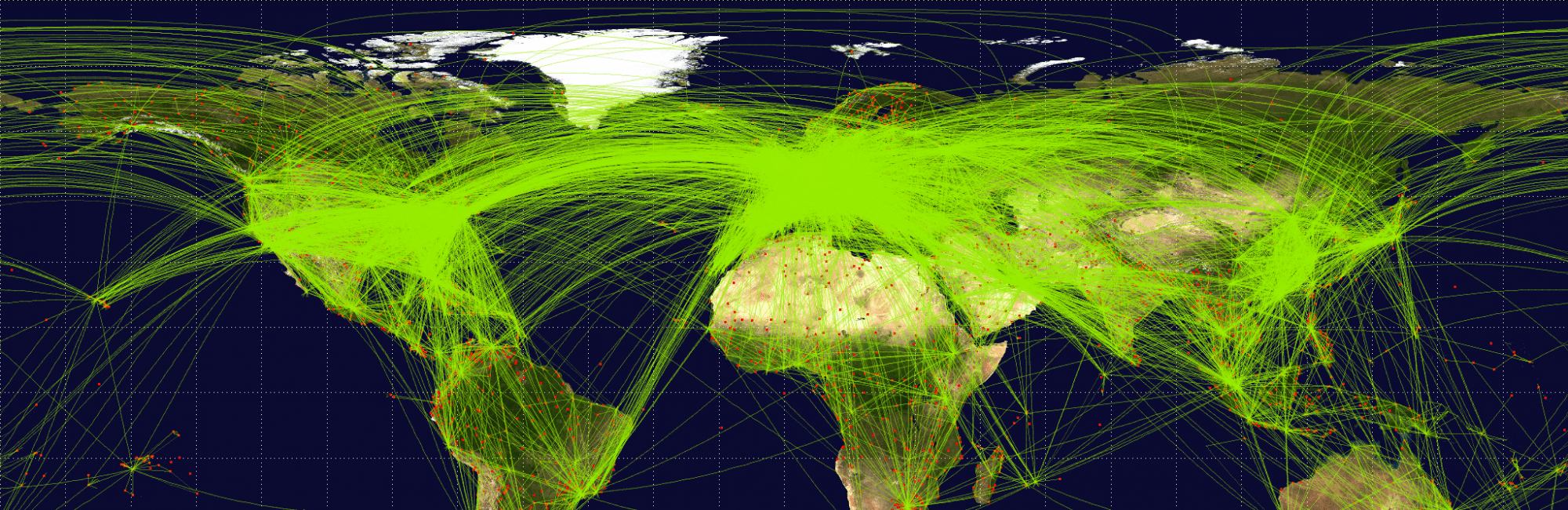 map showing comercial air travel