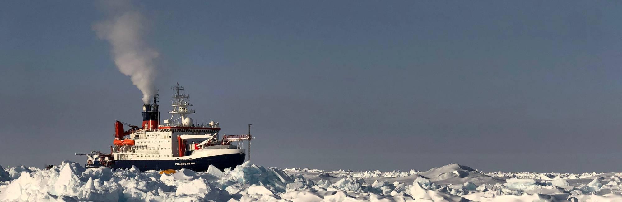 ship frozen into rough ice