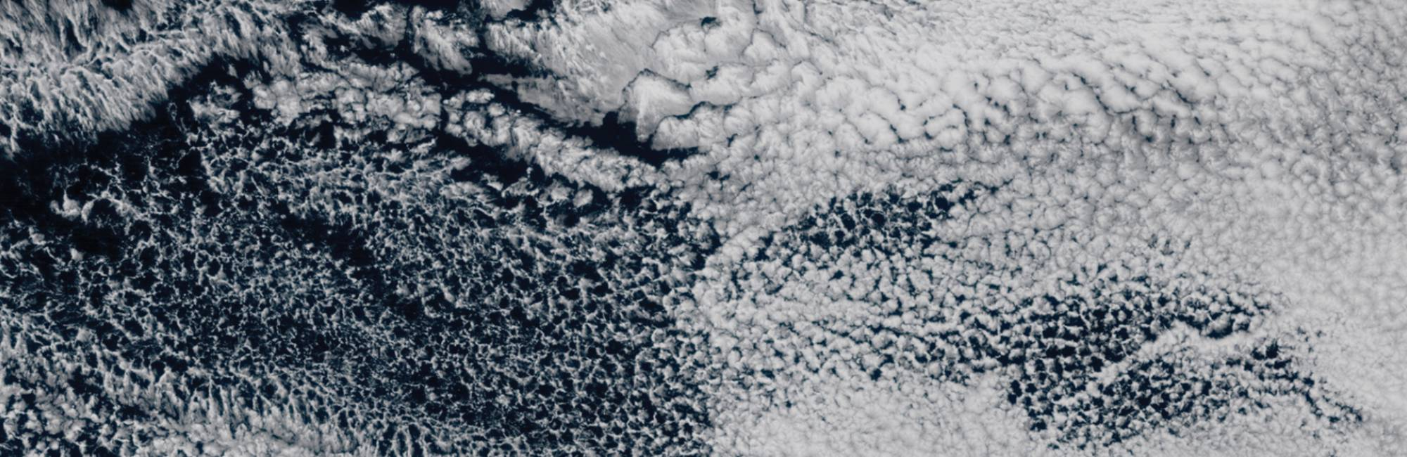 clouds over pacific, honeycomb pattern