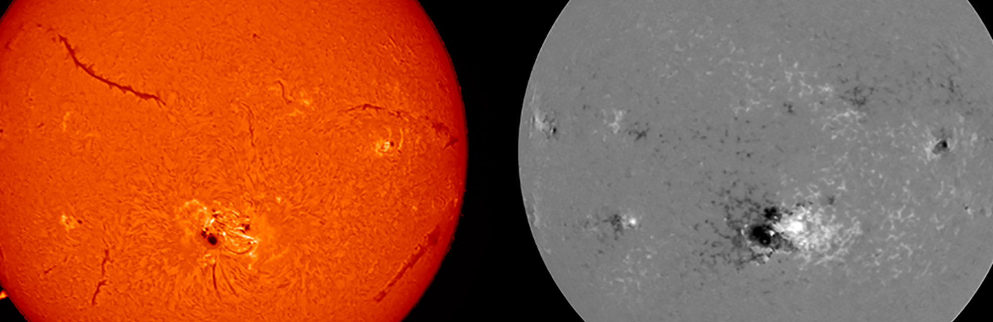 two images of the sun, orance & b/w