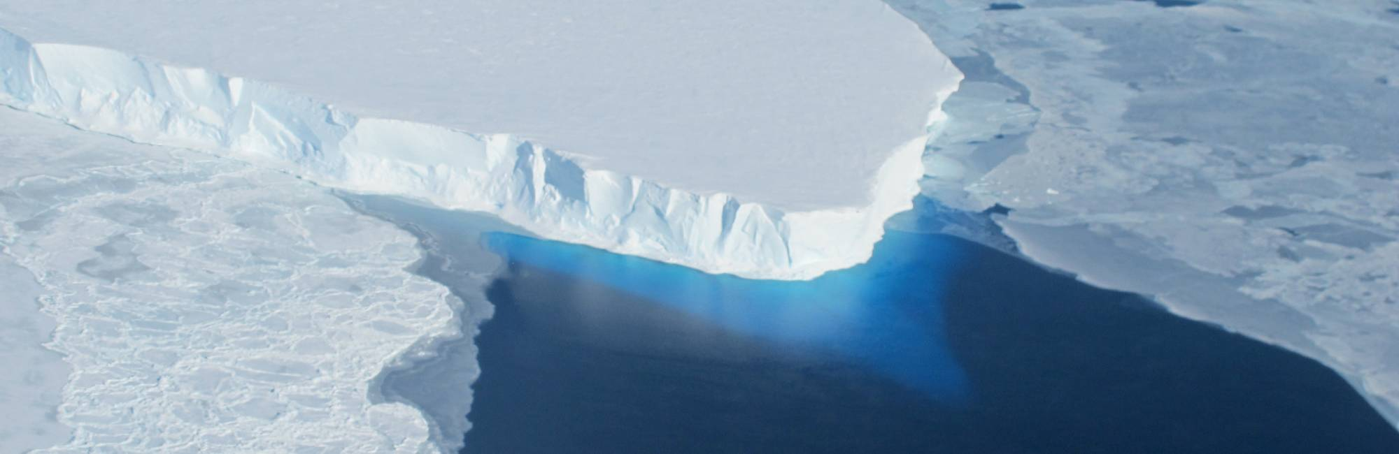 ice shelf extending into water