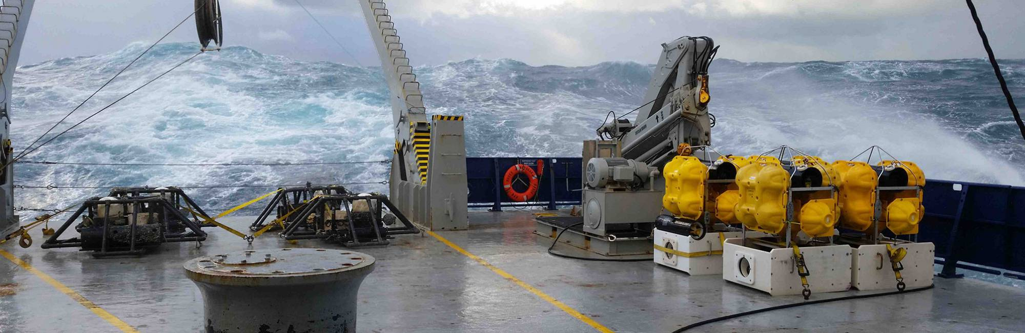 View of tumultuous wave from a boat