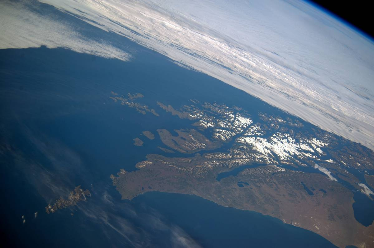 Panoramic image from February 14, 2014, showing parts of Chile and Argentina from the International Space Station.