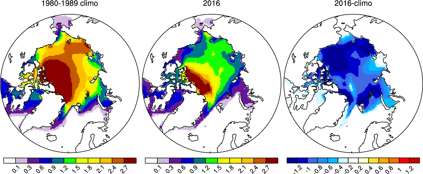 Ice extent maps of northe pole