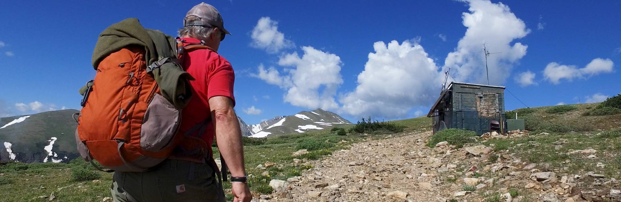 CIRES scientist Duane Kitzis approaching NOAA's Niwot Ridge sampling station in the mountains above Boulder Colorado.