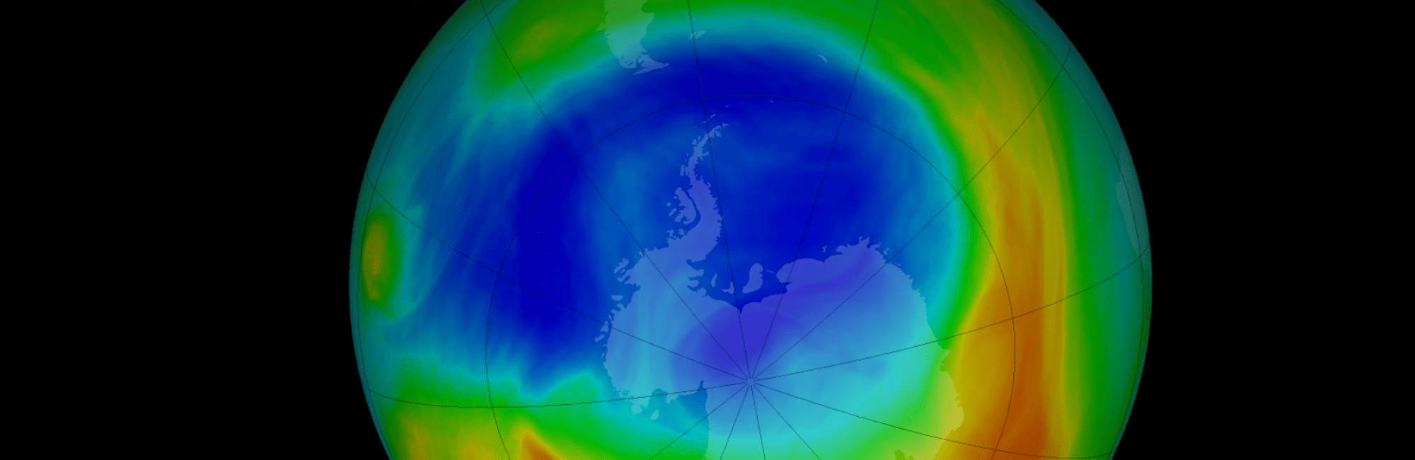 NASA visualization depicts 2019 ozone concentrations in Dobson Units, the standard measure for stratospheric ozone.