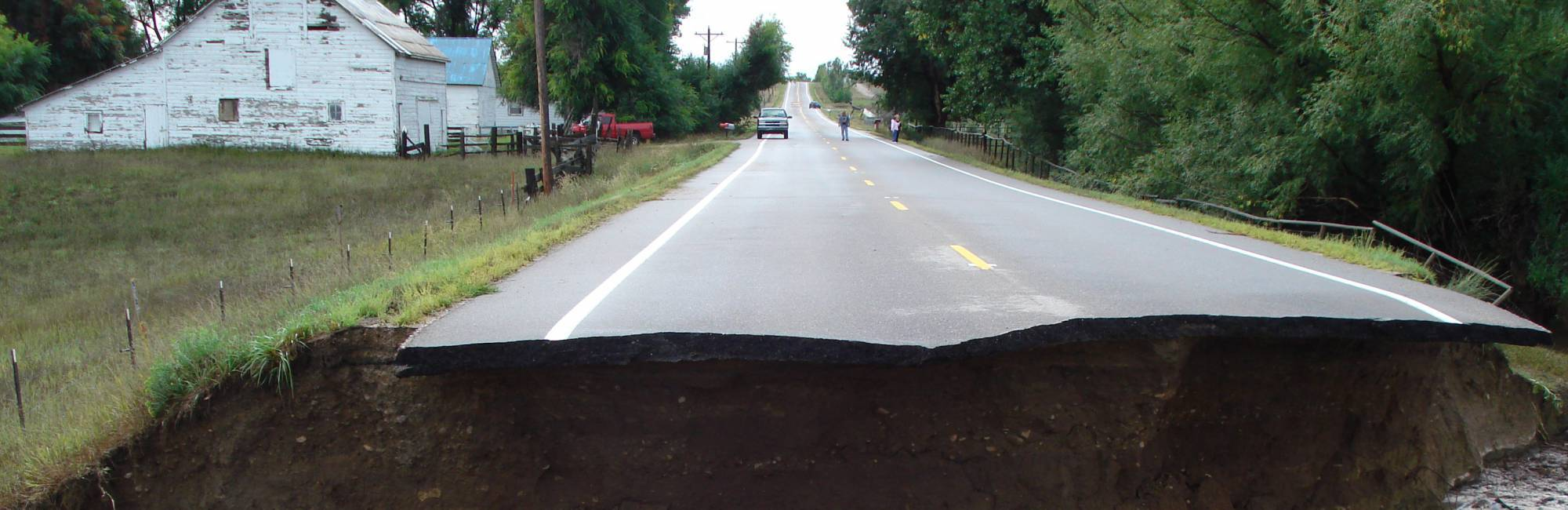Road destroyed by erosion