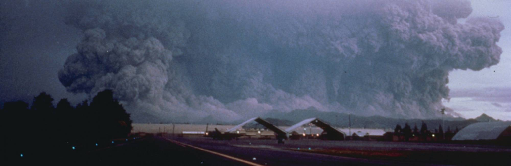 View to the west from Clark Air Base in the Philippines of the major eruption of Pinatubo on June 15, 1991.
