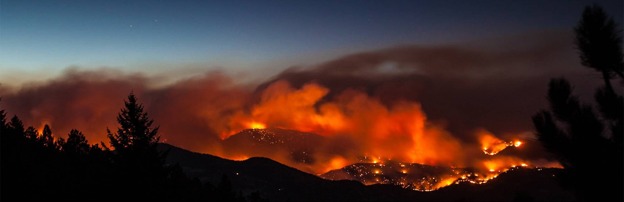 photo of wildfire burning at night