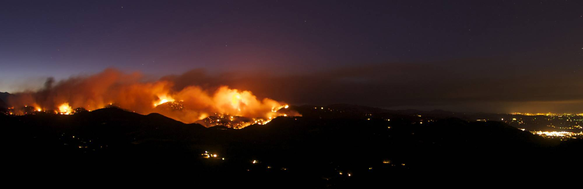 panorama of the Fourmile Canyon fire above Boulder, Colorado
