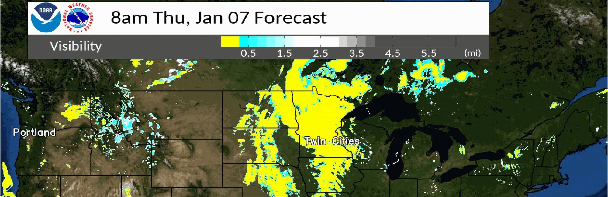 Map of the northern United States showing a forecast from the operational NOAA High Resolution Rapid Refresh weather model. Areas in yellow on the map indicate where visibility is predicted to be less than a 1/2 mile,