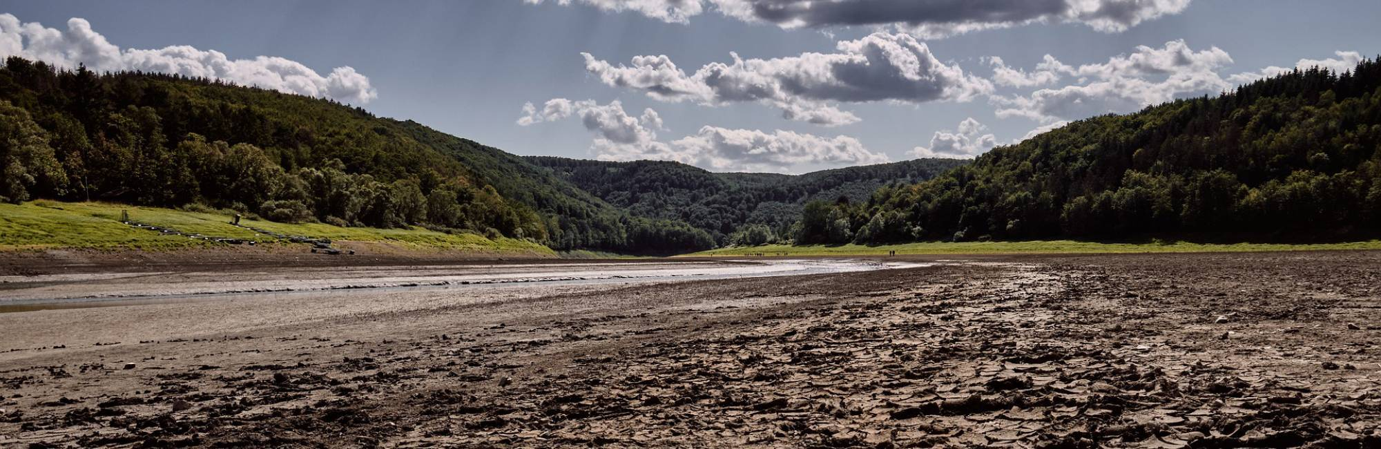 Panoramic photo of a dry riverbed with a hill and trees in the background.