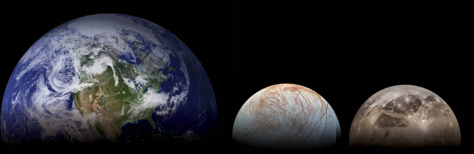 Earth, Europa and Ganymede, not to scale