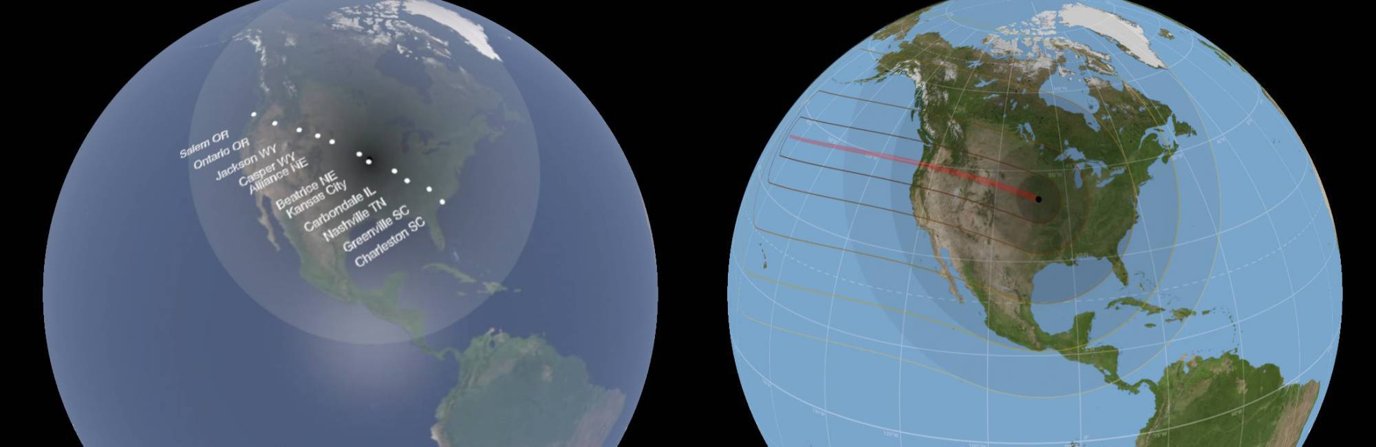 two globes showing eclilpse path