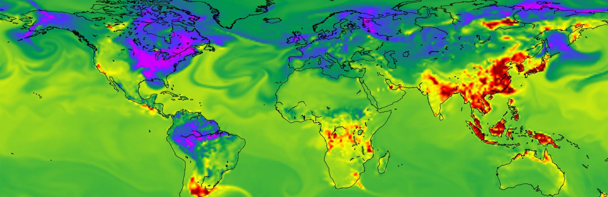 invisible swirls of carbon dioxide take on brilliant colors in this NOAA view of the greenhouse gas' emissions and sinks