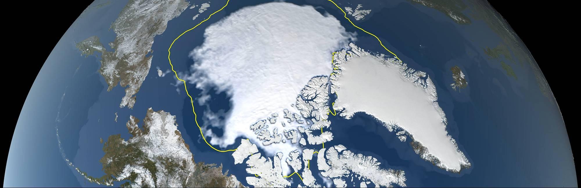 A still image visualizing Arctic sea ice on September 16, 2021.