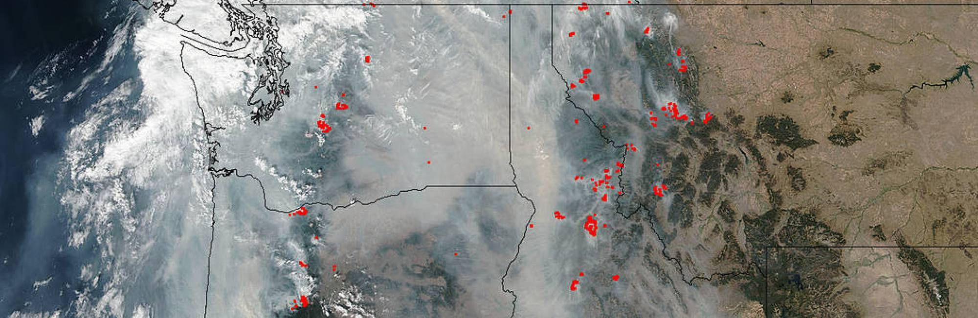 Image of the Suomi NPP satellite's Visible Infrared Imaging Radiometer Suite (VIIRS) instrument's view of the smoke obscuring much of the Pacific Northwest on September 05, 2017. Actively burning areas detected by VIIRS are outlined in red.