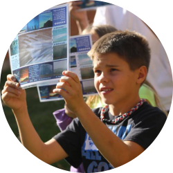 Boy engaging in climate education