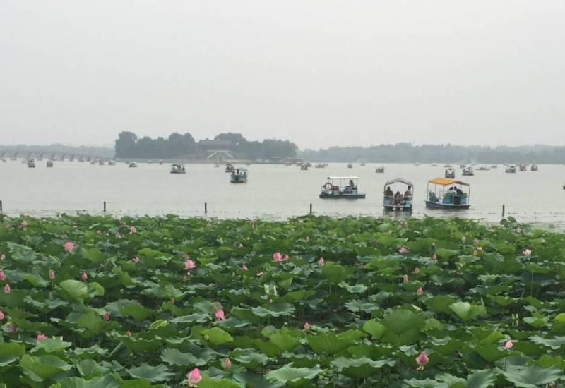 Boats on Kunming Lake in northwest Beijing, China.