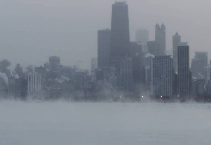 Chicago from Diversey Harbor during the early 2014 North American cold wave