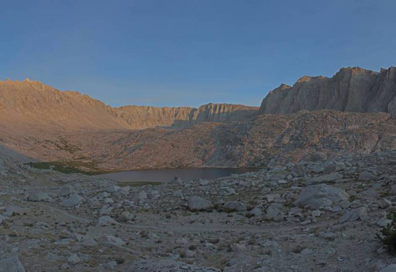 Mt. Whitney (left), highest point in Lower 48 states, over Guitar Lake, Sequoia National Park.