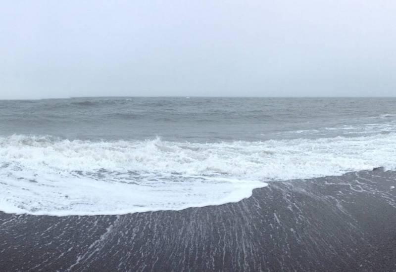 Panoramic view of northern Alaska shoreline