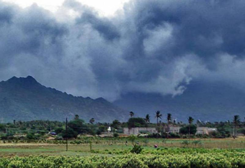 Monsoon clouds and showers near Nagercoil, India