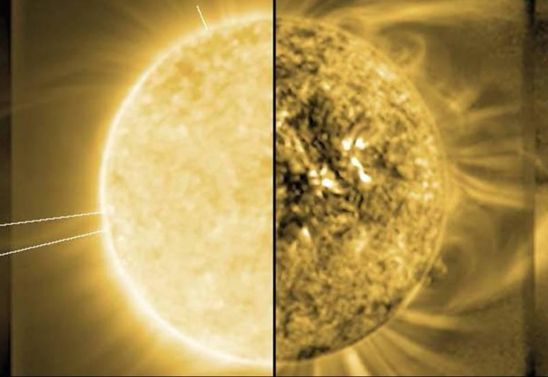 Image of the Sun and the solar corona.