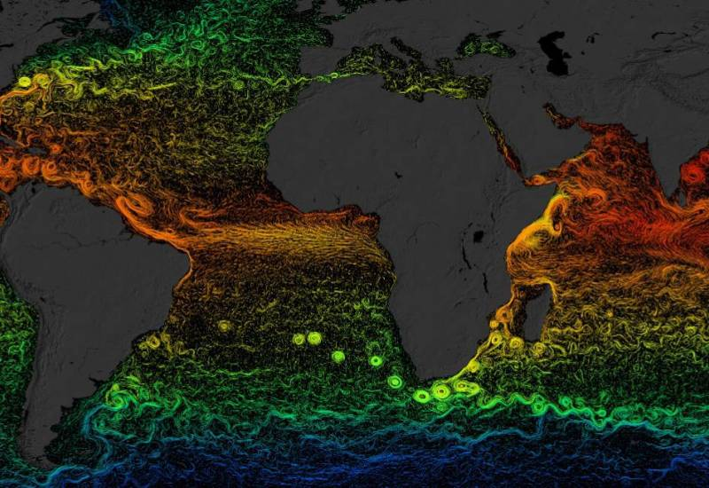 visualization of global sea surface currents and temperature