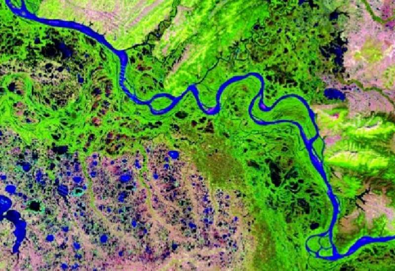 A view of the Yukon River watershed in Alaska from the U.S. Geological Survey, using Web-Enabled Landsat Data.