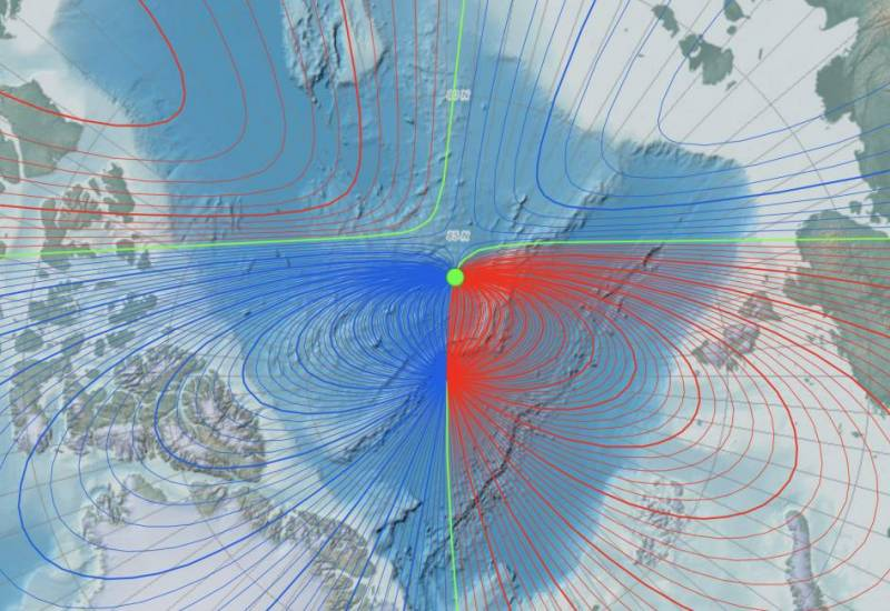 map of the Arctic showing Earth's magnetic field