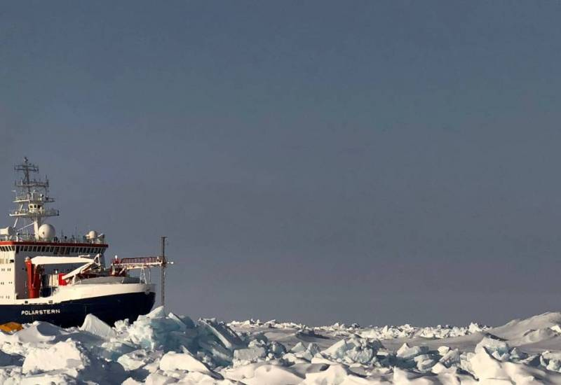 ship frozen into rough ice