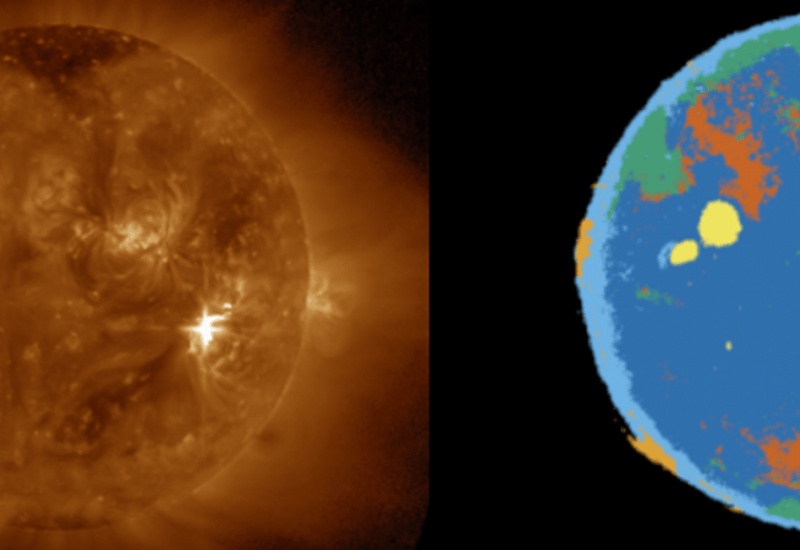 An image of the September 6th, 2017, solar flare next to a multi-colored map of the same solar flare. On the map, different colors identify different solar phenomena.