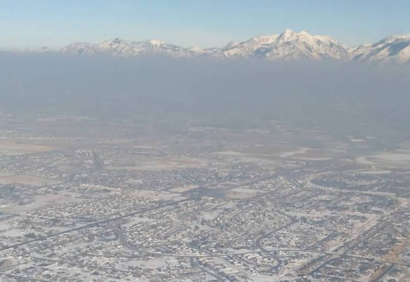 photo of pollution in the Salt Lake Valley taken from a research airplane