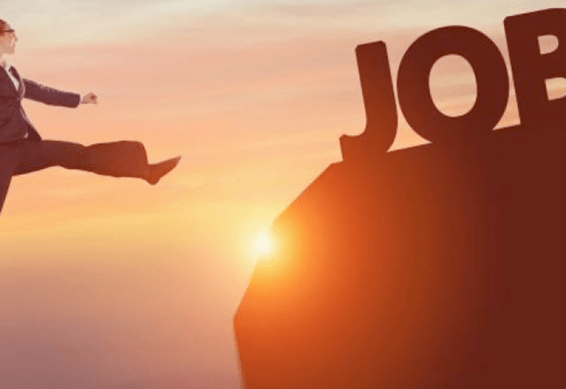 woman jumping towards job